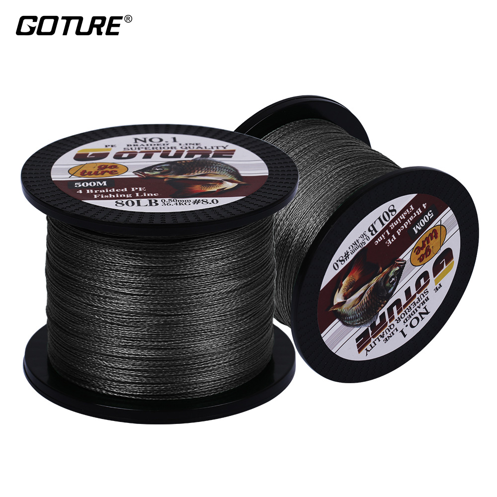 цена на Goture 2pcs 500M 547YD Fishing Line 12-80LB 4 Strands PE Multifilament Braided Wire Japan Cord Rope Sea Fishing Lines