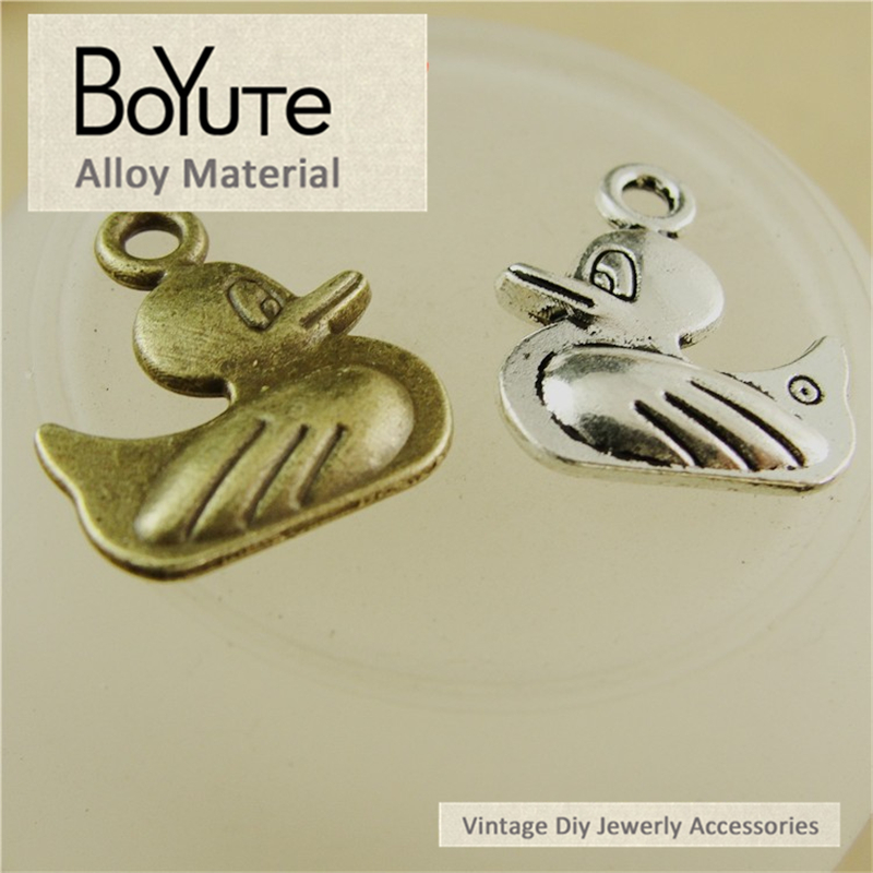 BoYuTe (50 Pieces/Lot) 16*14MM Antique Bronze Silver Plated Zinc Alloy Box Materials Duck Charms Pendant Diy Jewelry Findings