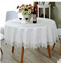 Europäischen runden tisch tischdecke spitzetischdecke hohl weiße tischdecke matten abdeckung handtücher