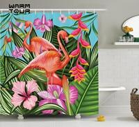 Warm Tour Flamingo Green Pink Blue Decor Shower Curtain Fabric Polyester Waterproof Bathroom Curtains