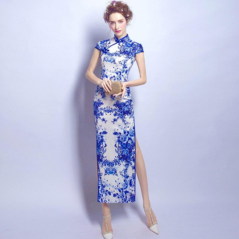 פורצלן כחול ולבן המודרני Qipao ארוך חתונה עתיקות סיניות למכירה מסורתי מזרחי Cheongsam סקסית שמלת הערב