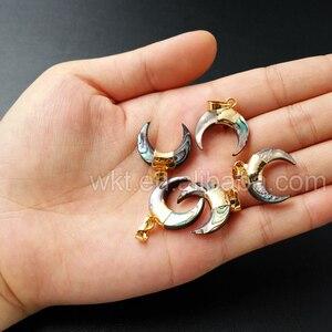 Image 5 - WT P958 Schönen winzigen abalone crescent horn anhänger, 24k gold farbe shell abalone charme horn anhänger