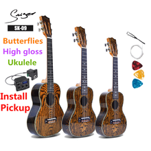Ukulele 21 24 26 Inches Butterflies Mini Electric Soprano Concert Tenor Acoustic Guitar 4 Strings Ukelele High-gloss Guitarra недорого