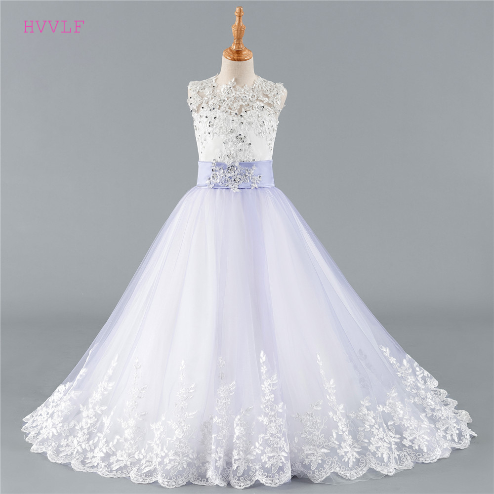 Blue 2019 Flower Girl Dresses For Weddings Ball Gown Cap Sleeves Tulle Lace Beaded Long First Communion Dresses Little Girl