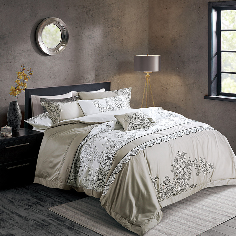 Simple Elegant luxury Long Staple Cotton Gray White Embroidery Bedding Set Duvet Cover Bed Linen Bed sheet Pillowcase King Queen 4 6 8 9pcs in Bedding Sets from Home HD - Elegant luxury king bedding Idea