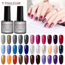 T-TIAO CLUB Gel Nail Polish 7ml Holo Glitter 296 Colors Soak Off Sparkle Art Varnish Decorations