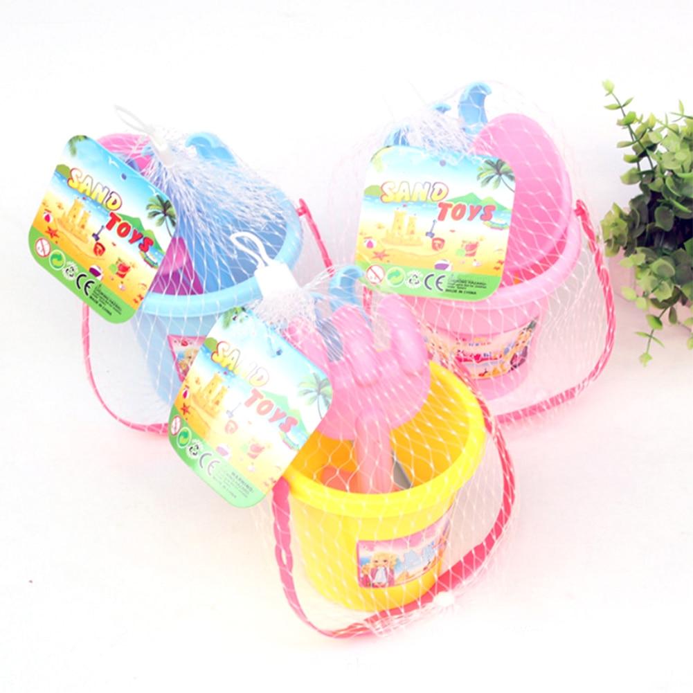 MrY Creative Large Children's Beach Bucket Set Plastic Sand Beach Toy For Kids Castle Spade Shovel Rake Water Tools Bath Toys