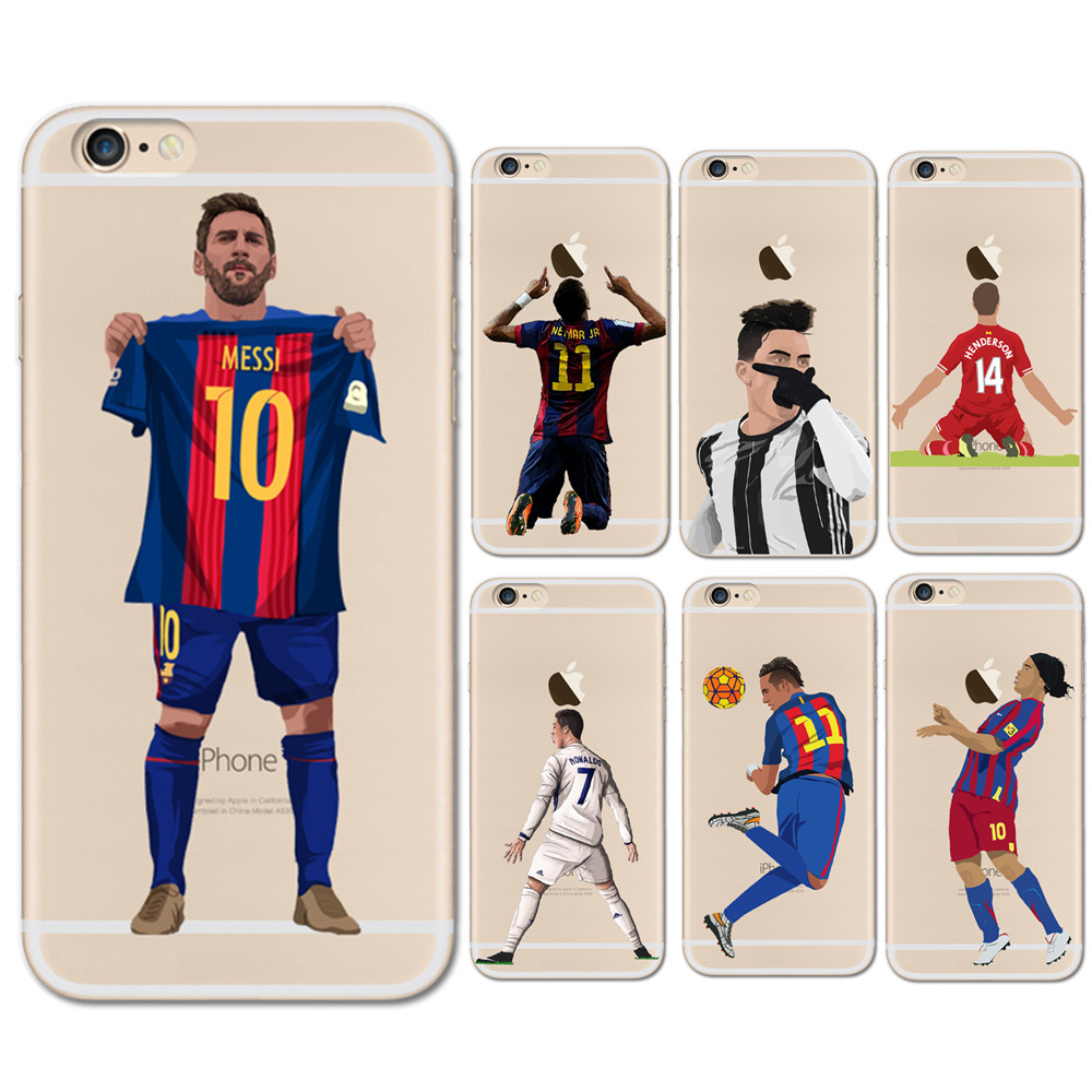 Galleria fotografica Thin Soft TPU soccer Clear Phone Cases Coque For iPhone X 5S SE 6 6S 7 8 Plus Football Star Winner Messi Ronaldo Dybala Cover