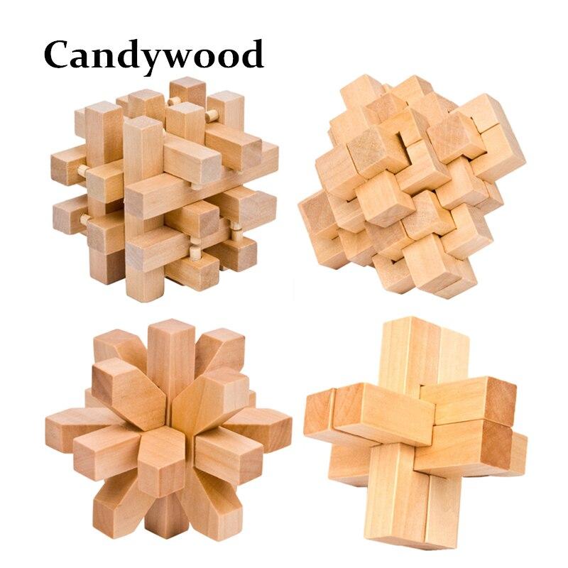 Design IQ Brain Teaser Wood Lock Wooden Interlocking Burr