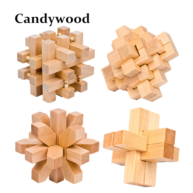 Brain teasers the interlocking Wooden Logic puzzles IQ Game