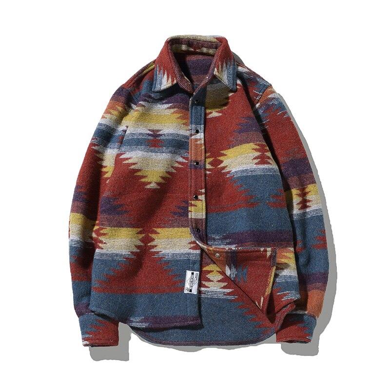 Camisas para os para os Homens de Lazer Padrão de lã Folk personalizado Homens de Lazer Vintage Vestido Casual Shirt Homens Plus Size Streetwear Flanela Chemise Homme