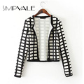 Plaid Print Women Short Jacket 2016 New Long Sleeve White Black Casual Slim Outerwear Fashion Lady Plaid Coats