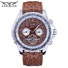 купить Jaragar Male Tourbillon Skeleton Watch Men Automatic Multifunction Date Week Mechanical Fashion Brown Leather Band Watches Clock по цене 2103.09 рублей
