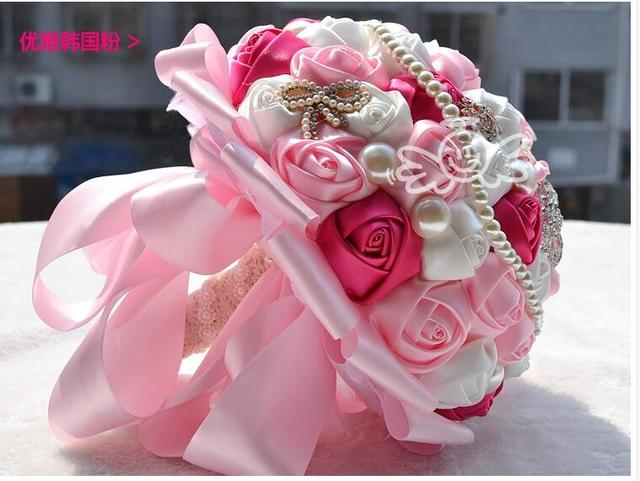 H1002 Luxury Rhinestone Beads Rose Bouquet Artificial for Wedding Bride Bridesmaid Crystal Silk Ribbon Rhinestone Holding Flower