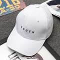 Korea Women Men Baseball Caps Youth Letter Embroidery Hats Casual Spring Black White Hat Snapback Women's Cap 2016 Free Shipping