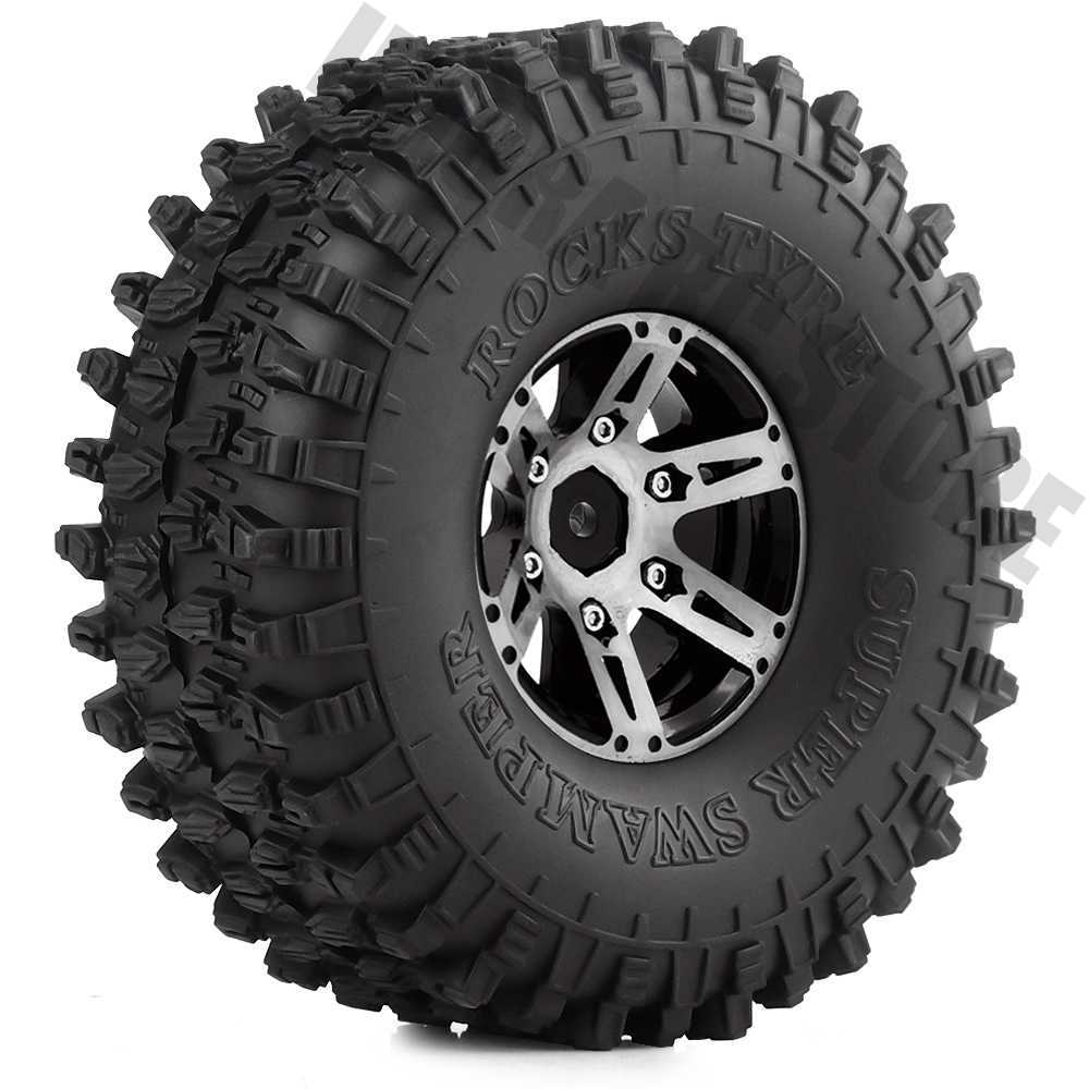 1.9 inch Rubberbanden & Metalen Velg 4 stks/set voor 1:10 RC Rock Crawler Axiale SCX10 90046 Upgrade Deel