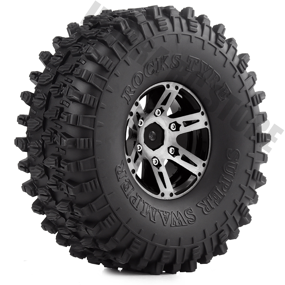 1.9 Inch Rubber Tires&Metal Wheel Rim 4Pcs/Set For 1:10 RC Rock Crawler Axial SCX10 90046 Upgrade Part