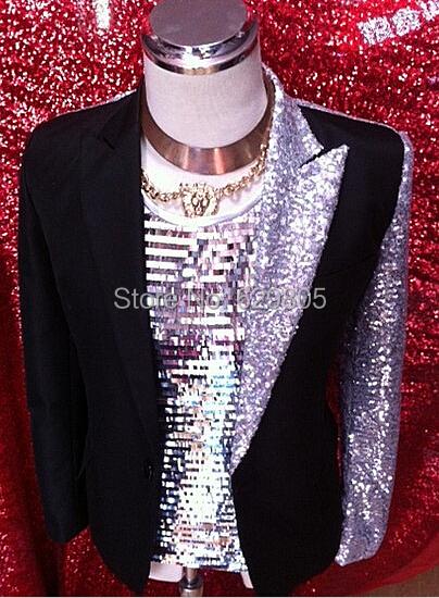 2016 Nuevo macho conjunto traje ds paillette Negro de buena calidad trajes ropa adelgaza un botón de la etapa traje de chaqueta prendas de vestir exteriores de los hombres escudo