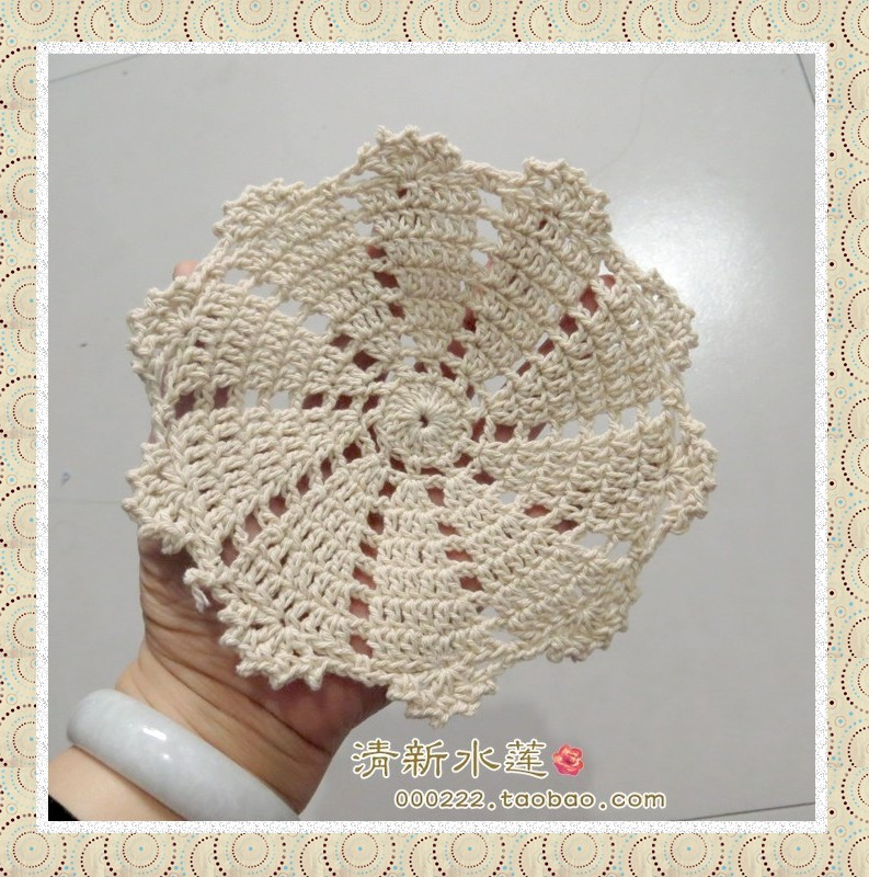 Free Shipping 6 Piclot Cotton Crochet Round Pad Rustic Vintage Mat