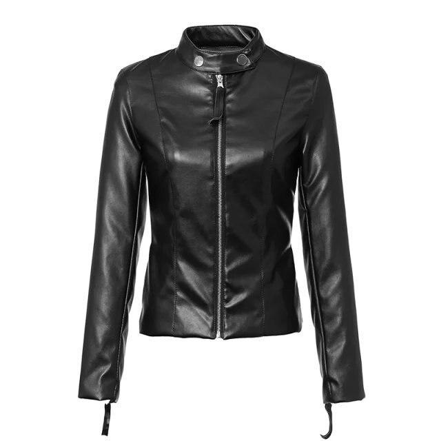 65fbb06f3e38 Hot sale Europe Women's Zipper Black PU Leather Jacket mandarin Collar Lady Leather  Coat Outerwear--LS010