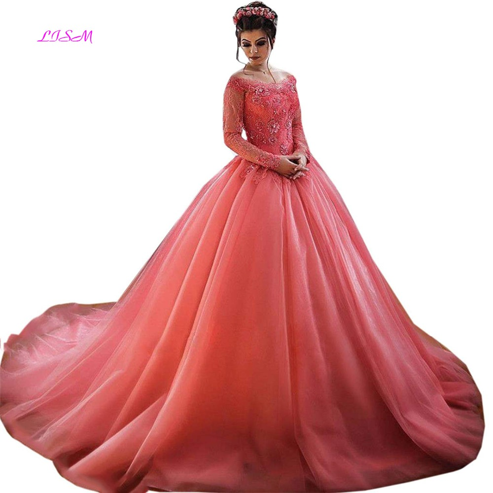 LISM Lace Appliques Ball Gown Princess Prom Dress Off the Shoulder Long Sleeves Party Prom Gown