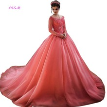 LISM Lace Appliques Ball Gown Princess Prom Dress Off the Shoulder Long Sleeves Party Prom Gown Vintage Long Quinceanera Dress