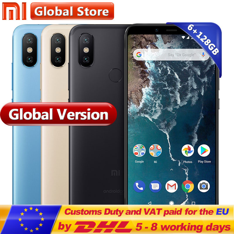 Mondial Version Xiao mi mi A2 128 gb ROM Mobile Téléphone 6 gb RAM Snapdragon 660 Octa base 5.99 plein Écran D'affichage Double 20.0MP