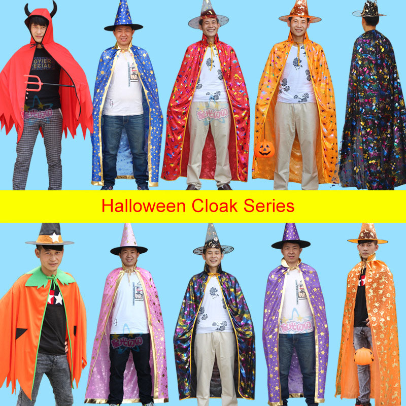 Adult Cosplay Wizard Costume For Christmas Birthday Party Halloween Party Cape Robe Hat Star Pumpkin Cape Costumes  Performance