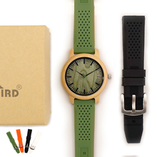 BOBO BIRD Bamboo Wooden Watch Men Quartz Watch with Green Silicone Strap Extra Band Mens Gift with Box relogio masculino W B06