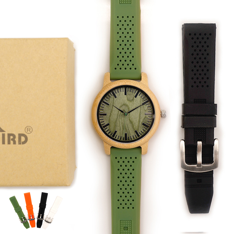 BOBO BIRD Bamboo Wooden Watches for Men Simple Wood Dial Face Quartz Watch with Green Silicone Strap Extra Band as Gift with Box bobo bird wh05 brand design classic ebony wooden mens watch full wood strap quartz watches lightweight gift for men in wood box
