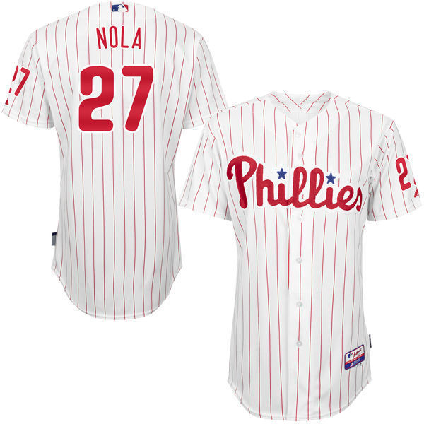 MLB Mens Philadelphia Phillies Aaron Nola Baseball White/Red Road 6300 Player Authentic Jersey