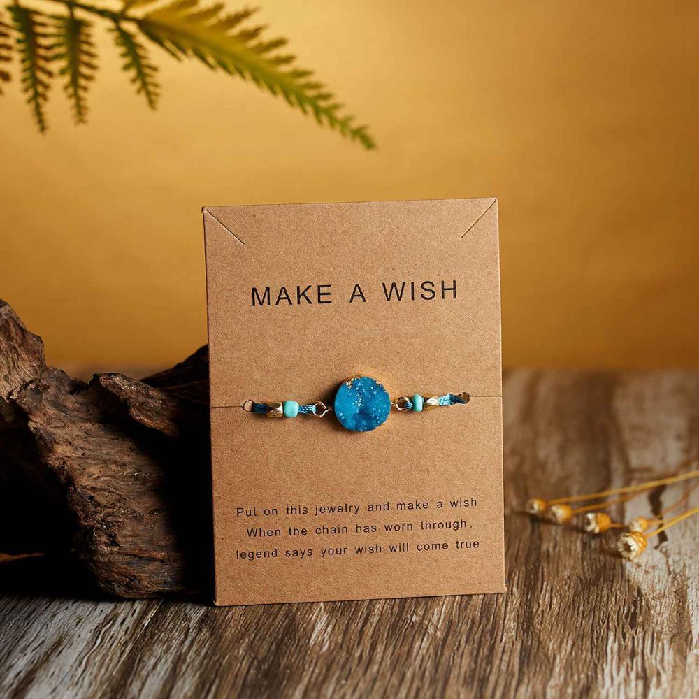 Натуральный камень Новая 7 цветная подвеска тканый браслет с картой Загадай желание регулируемый браслет из веревки для женщин очаровательные подарочные украшения - Окраска металла: 2