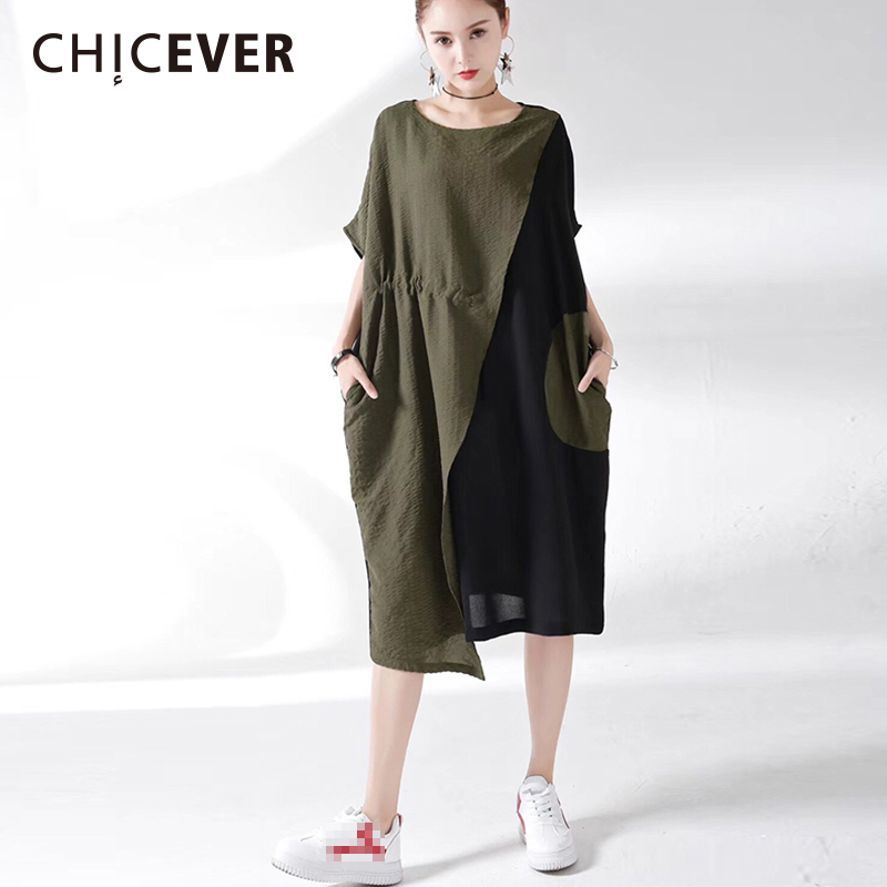 CHICEVER Hit Color Irregular Summer Dress For Women 2018 O Neck Batwing Sleeve Big Pockets Casual Womens Dresses Fashion Tide