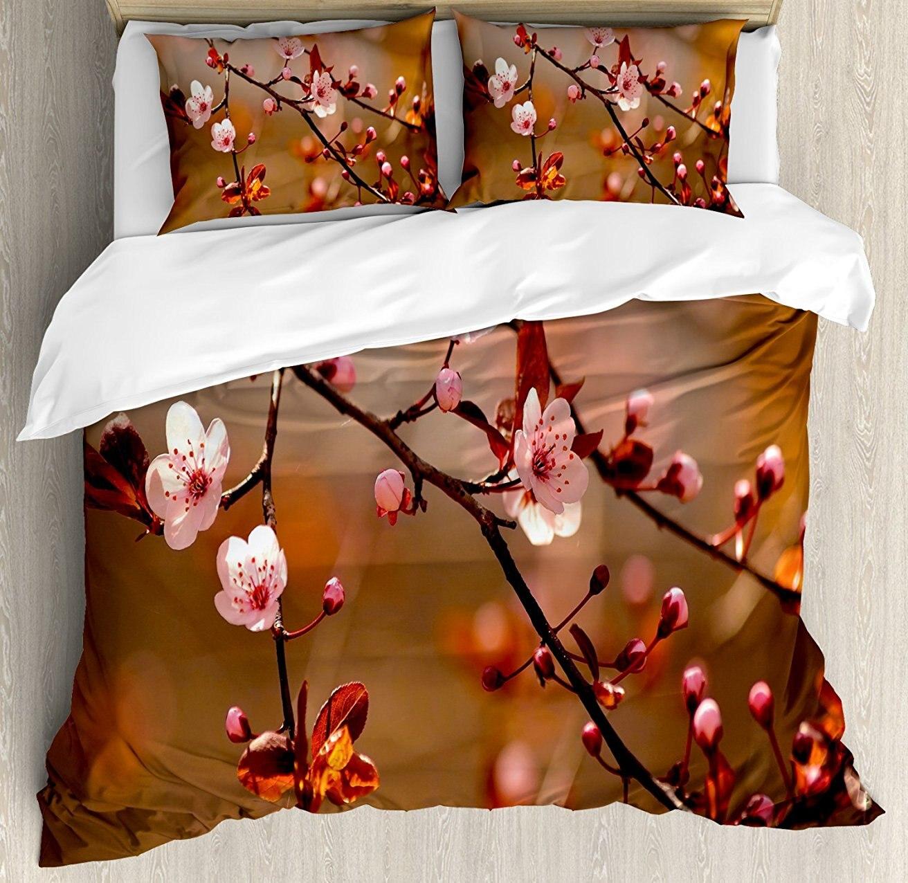 Nature ensemble housse de couette, fleurs de cerisier Sakura arbre Branches floraison japonais florissant impression, ensemble de literie 4 pièces