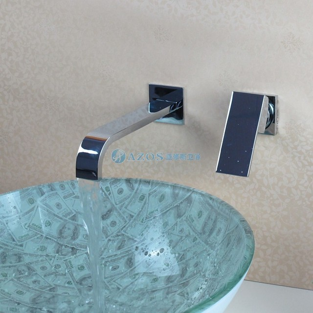 Modern Bathroom Sink Faucet Hand Washing Basin Tap Contemporary Wall Mount Bathroom  Sink Faucet   Chrome