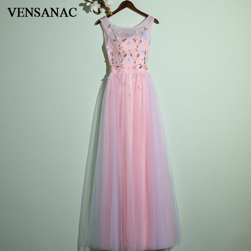 VENSANAC O Neck Flowers 2018 Open Back A Line Tulle Long   Evening     Dresses   Elegant Party Lace Appliques Prom Gowns