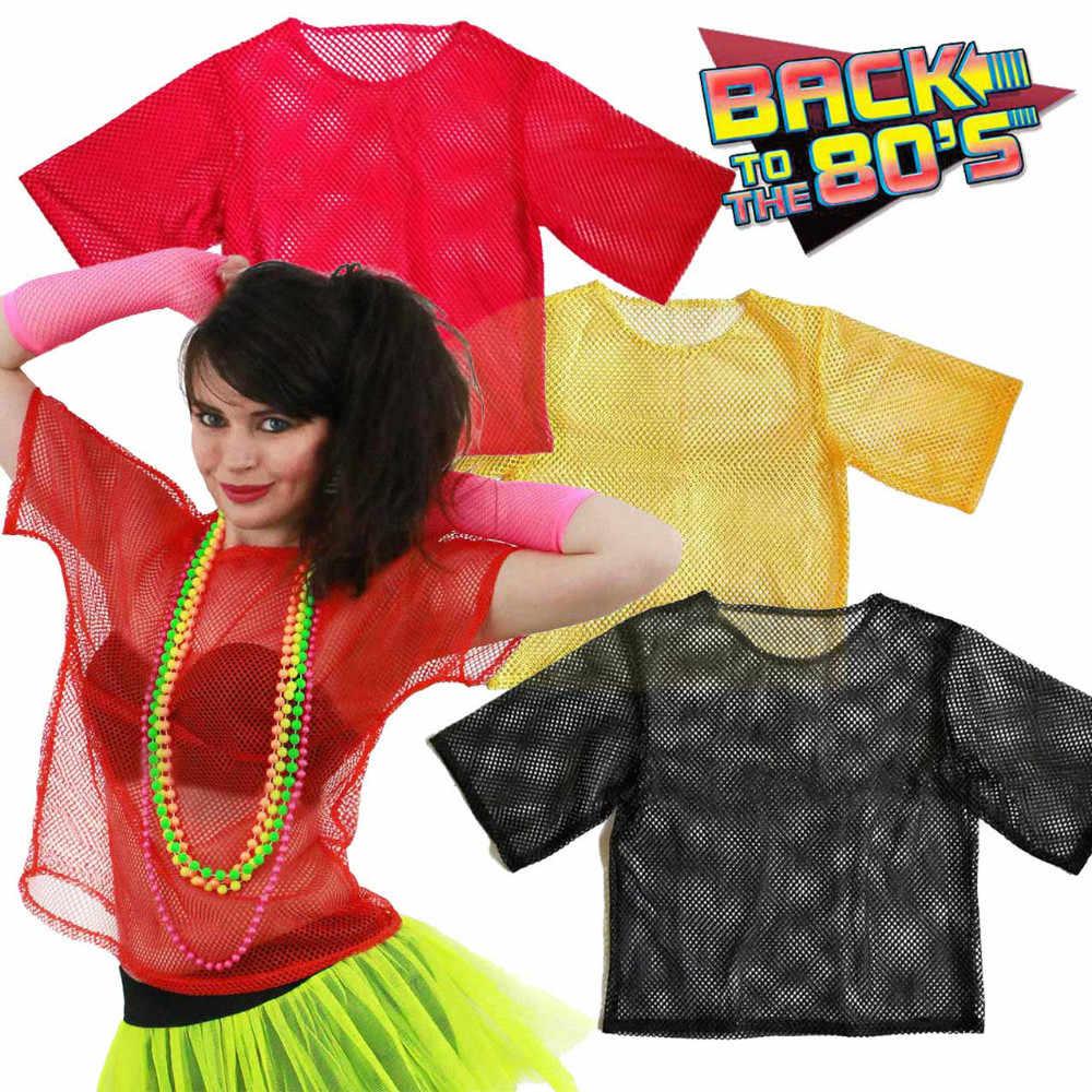 4e43efccd Vintage 80s Fishnet Shirt Retro String Mesh Top Roller Disco Rocker Fancy  Dress Unisex Clubbing Hip