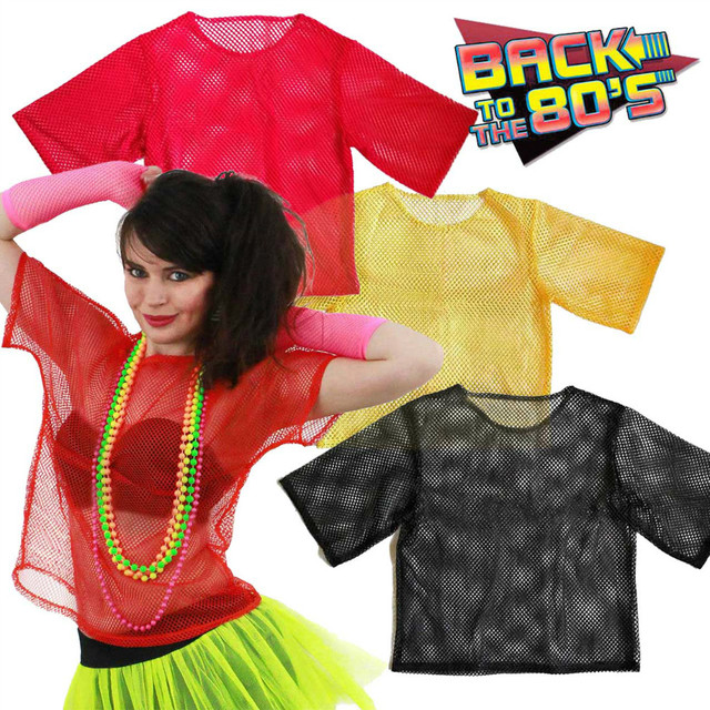 d1435372ed Vintage 80s Fishnet Shirt Retro String Mesh Top Roller Disco Rocker Fancy  Dress Unisex Clubbing Hip-hop Rave T-shirt