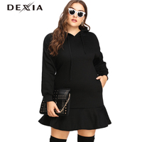 DEXIA Boho Black Hooded Plus Size 3XL 4XL 5XL Women Large Size Dress Casual Solid Ladies Evening Elegant Loose Thick Clothing