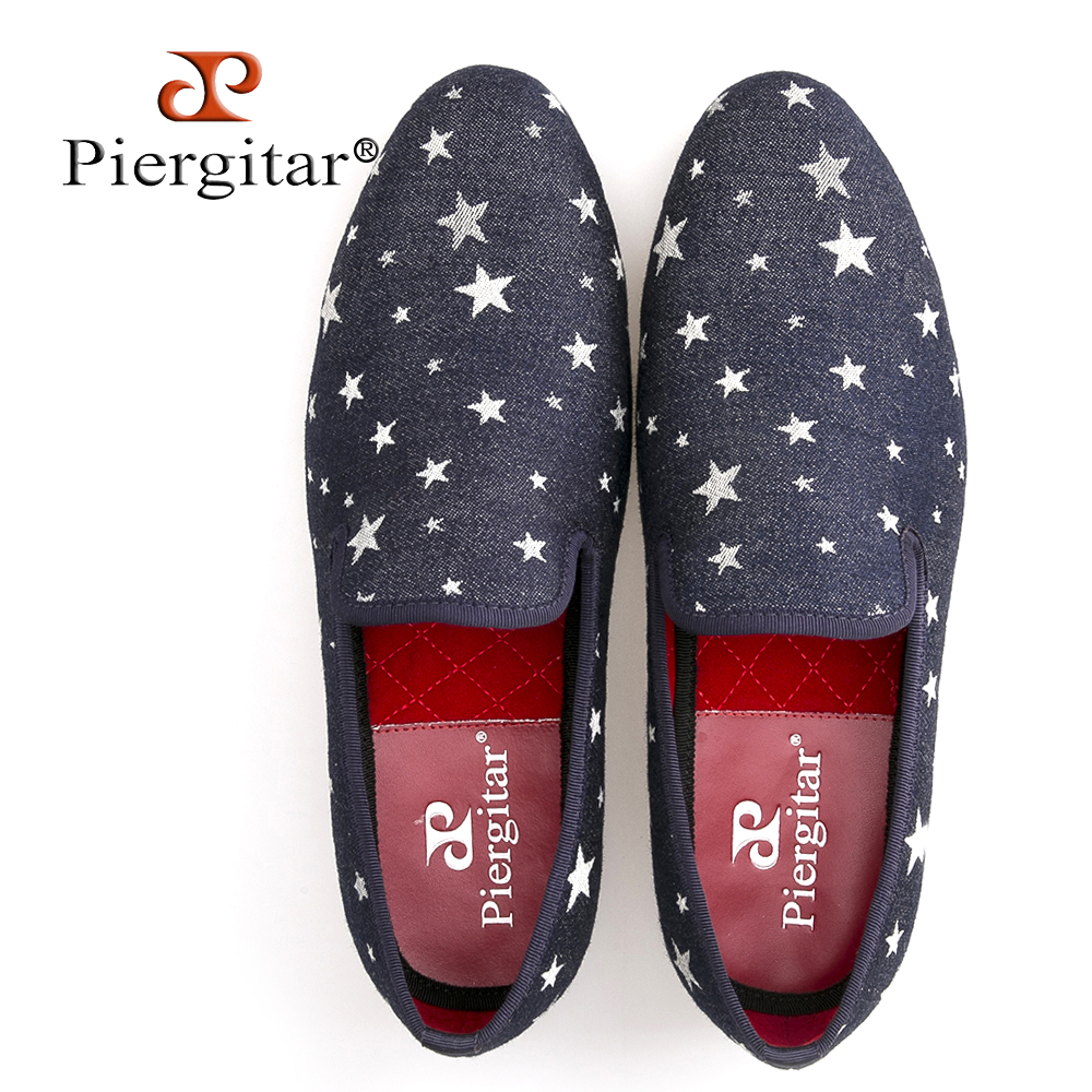 Men Denim Shoes Piergitar New Fashion Star Men Loafers Navy blue Plus Size Men's Flats Size US 6-14 Free shipping