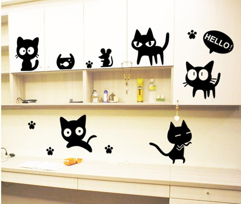 DIY cartoon Cute Lovely Black Cat Bedroom TV sofa background wall ...