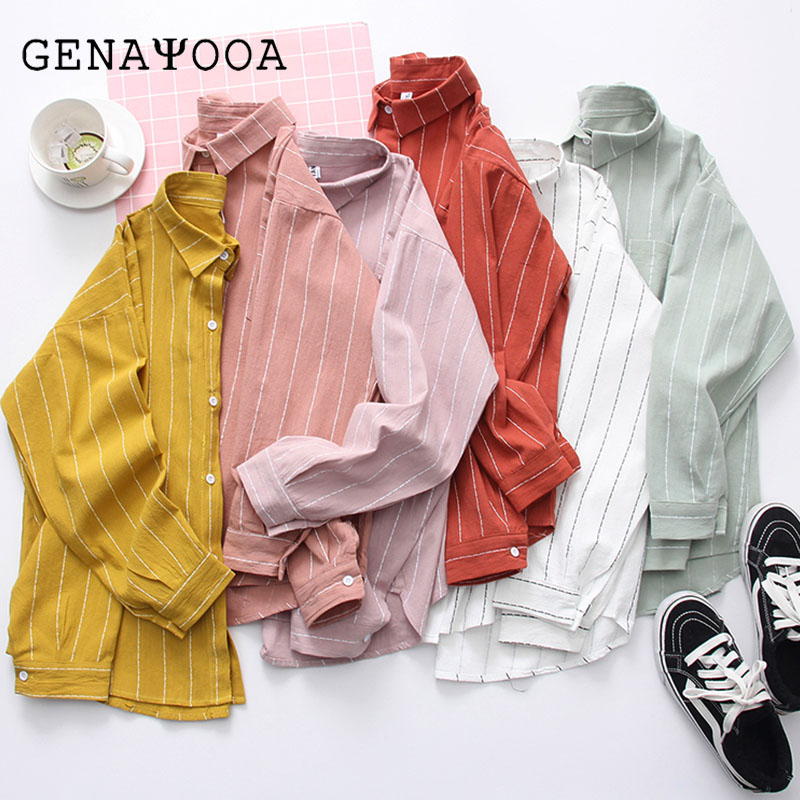 Womens Tops And   Blouses   With Pocket Striped Women   Blouses   Long Sleeve   Shirt   Women Cotton And Linen Casual Turn-Down Collar   Shirt