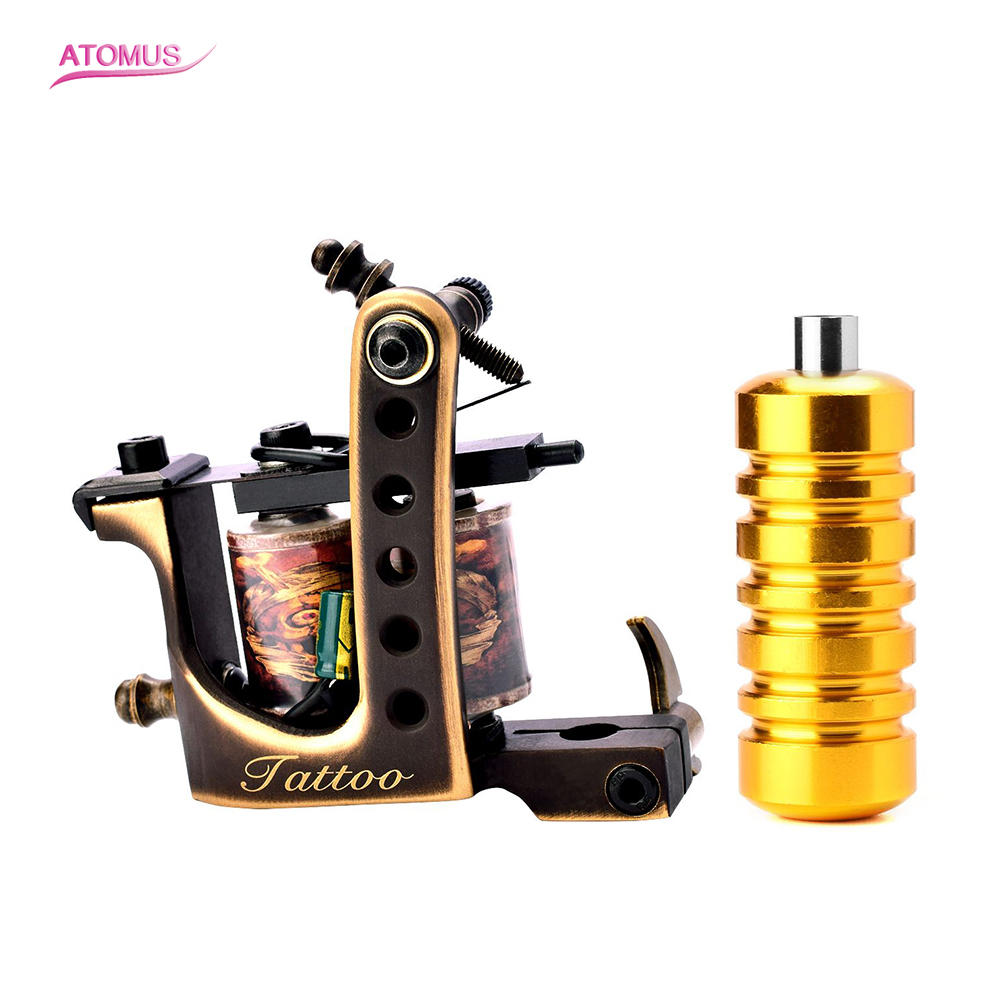 цена 1PC Copper Tattoo Machine Coil Frame Liner Shader Grip Maquina De Tatuagem Handmade Bobina Tattoo Machine 10 Wraps De Uma Bobina
