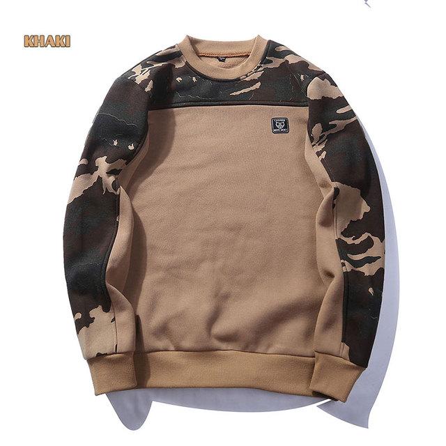 Hoodies Men Clothes 2018 Autumn Winter Long Sleeve Camouflage Patchwork Sweatshirts Mens Streetwear Brand Thick Fleece Hoody Man