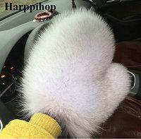 2017 new arrival fashional Fox Fur Gloves Women Luxury real Fur Glove winter warm hand mittens