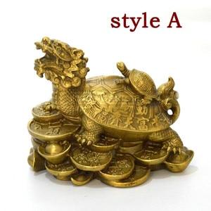 Image 4 - סין Fengshui פליז הדרקון צב צב עושר מזל פסל מתכת מלאכות פנג שואי מתנת קישוטי מתכת מלאכת יד