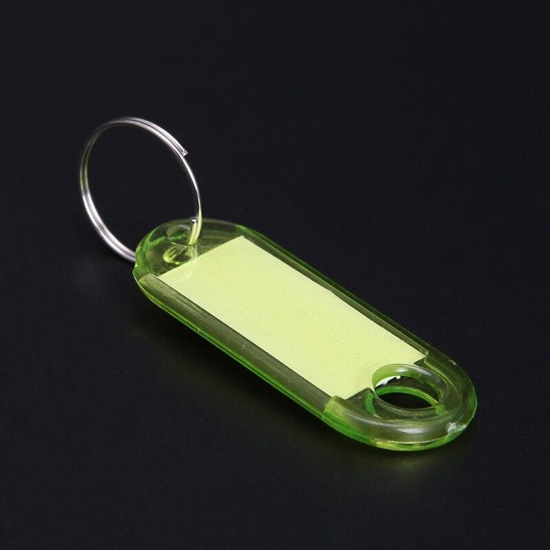 10PCS New Transparent Plastic Luggage ID Label Key Tags Keychains Keyring Tags