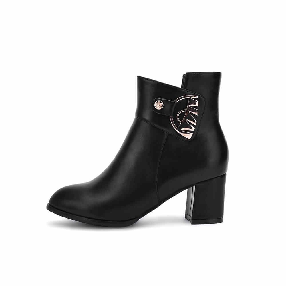 Kadın Kalın Yüksek Topuk yarım çizmeler Moda Sivri burun Kış rahat ayakkabılar Kadın Beyaz Siyah Bej