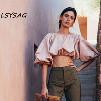 LSYSAG Crop Top Women Beach Clothing 2018 Long Sleeve Shirt Vogue Plus Size Loose Sexy Hight Quality 2018 Summer New Korea Style