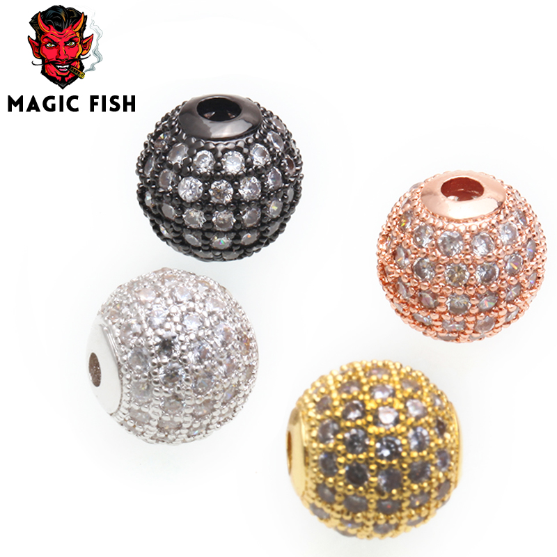Jewelry & Accessories Beads Magic Fish 10mm Charms Beads For Diy Jewelry Making Women Man Bracelets Round Brass Cubic Zirconia Drop Shipping Jewelry Bead